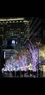夜に明るくした街の写真・画像素材[3525135]
