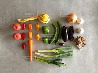 家にあった野菜を並べたの写真・画像素材[3713185]