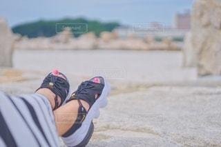 白良浜とサンダルの写真・画像素材[3498355]
