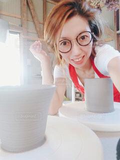 陶芸とメガネ。の写真・画像素材[3645349]