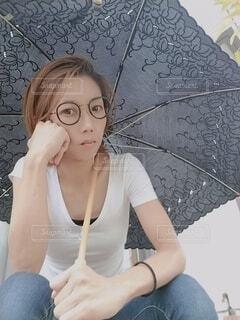 日傘とメガネです。の写真・画像素材[3687984]