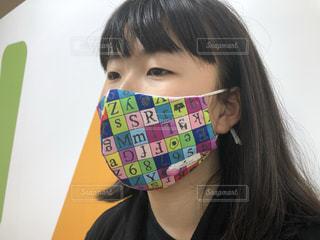 オシャレな手作りマスクの写真・画像素材[3526486]