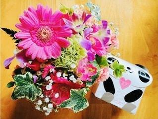 花束とパンダの写真・画像素材[3974962]