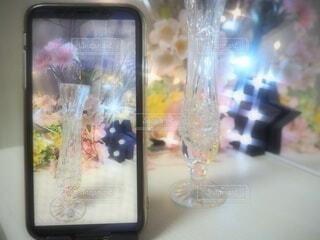 花,桜,花瓶,ライト,ガラス,キラキラ,写真,携帯
