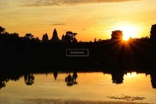 自然,風景,空,屋外,海外,朝日,景色,観光,外国,旅行,正月,お正月,日の出,カンボジア,新年,初日の出,アンコール・ワット