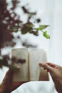 花,本,読書,手持ち,人物,ポートレート,ライフスタイル,手元