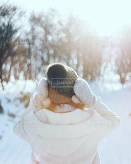 雪に覆われたケーキの写真・画像素材[4114530]