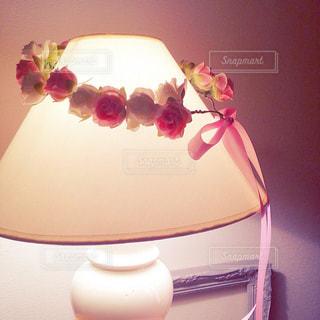 インテリア,花,ピンク,かわいい,ライト,リボン,ハンドメイド,花かんむり,りぼん