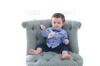 花,屋内,緑,手持ち,椅子,人物,赤ちゃん,ソファ,ポートレート,男の子,1歳,ライフスタイル,手元,イス