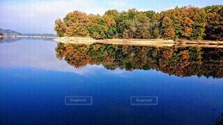 木々に囲まれた水面の写真・画像素材[3754958]