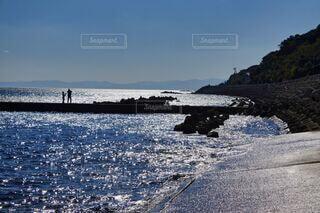 キラキラ輝く海での写真・画像素材[3815153]