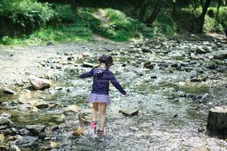 川遊び中の写真・画像素材[3635609]