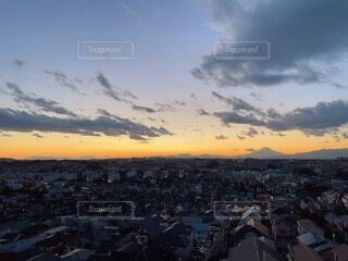 風景,空,屋外,朝日,雲,正月,住宅街,お正月,日の出,新年,初日の出