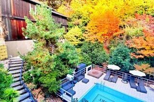 秋のプールの写真・画像素材[3727072]