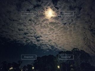 雲にかかった月の写真・画像素材[4837563]