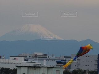 富士山と町並みの写真・画像素材[3794096]