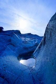 フィヨルドに見える水溜りの写真・画像素材[3648775]
