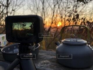 カメラ,朝日,樹木,正月,日本,お正月,日の出,和,gopro,新年,初日の出,やかん