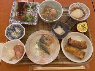 感染症対策な朝食の写真・画像素材[3653099]