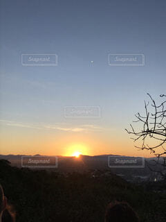 自然,風景,空,屋外,朝日,山,樹木,正月,お正月,日の出,新年,初日の出