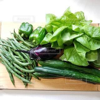 食べ物,緑,まな板,野菜,食品,ピーマン,キュウリ,新鮮,食材,フレッシュ,生野菜,ベジタブル,栄養,いんげん,健康的です,取れたて野菜
