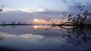 風景,海,朝日,綺麗,幻想的,船,水面,海岸,反射,夜明け,正月,お正月,リフレクション,日の出,新年,初日の出,綺麗な空
