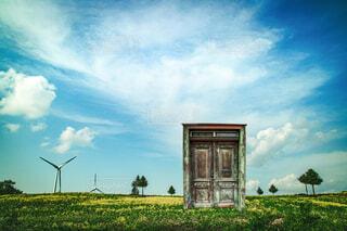 芝生で覆われた畑の上にある時計塔の写真・画像素材[3668870]