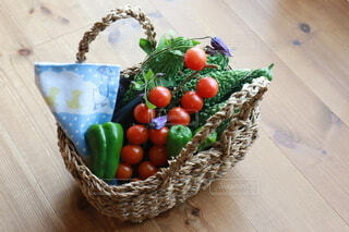 食べ物,野菜,かご,食品,ピーマン,ゴーヤ,プチトマト,食材,フレッシュ,ベジタブル,手拭い