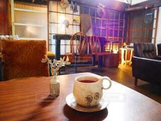 ぽってりとした笠間焼と古民家カフェの写真・画像素材[4614176]