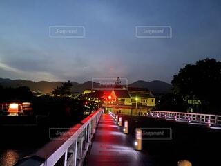 夜の京都嵐山渡月橋の写真・画像素材[3711915]