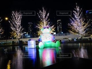 屋外,水面,イルミネーション,クリスマス,明るい,神々しい,グランフロント大阪,夜の,シャンパンゴールド,グランフロントクリスマス,テッドイベール,緑のクマ