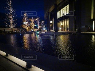 建物,夜,屋外,水面,樹木,クリスマス,明るい,点灯,グランフロント大阪,シャンパンゴールド,グランフロントクリスマス