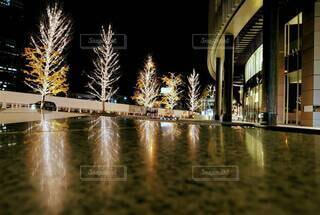 夜,きれい,水面,リフレクション,明るい,電飾,グランフロント大阪,シャンパンゴールド,グランフロントクリスマス