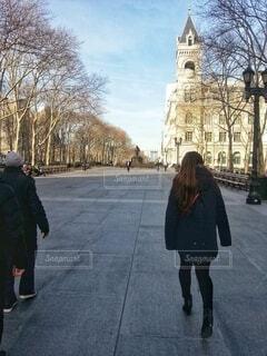 ニューヨーク、冬の晴れた日みんなで帰宅の写真・画像素材[3965076]