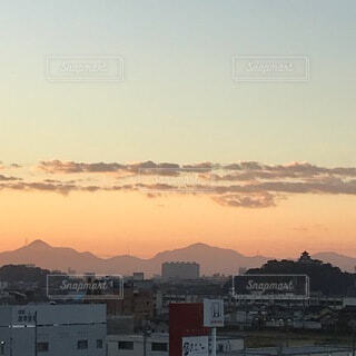 犬山城と朝焼けの写真・画像素材[3735473]
