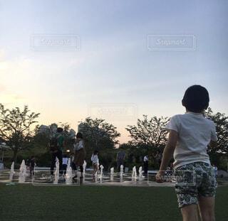 芝生で夕暮れ空を見上げる少年の写真・画像素材[4587131]
