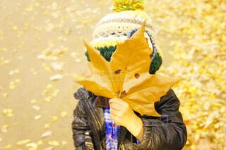落ち葉でお面🍁の写真・画像素材[3748607]