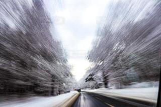 クローズアップ雪山道の写真・画像素材[4156481]