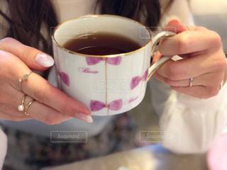 ピンク,リボン,食器,ティーカップ,ポーセラーツ