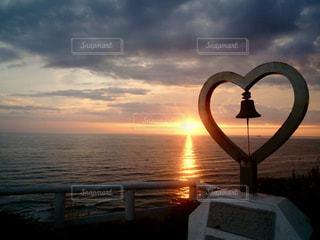 海,空,夕日,夕焼け,ハート
