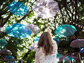 ピンクの傘を持つ少女の写真・画像素材[1322868]