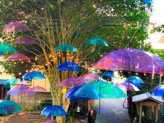 カラフルな傘の下で設定されている人々 のグループの写真・画像素材[1554868]