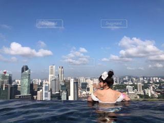 プール,景色,旅行,シンガポール,海外旅行,マリーナベイサンズ,インフィニティプール