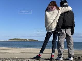ファッション,海,靴,親子,青空,青,母,息子,スニーカー,デニム,靴下,革靴,青島,パンツ,パーカー,ダウン,アウター,フリース,シェフパンツ