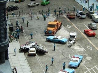 ミニチュアモデルの車両事故現場の写真・画像素材[3778077]