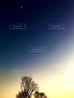 三日月とグラデーションの空の写真・画像素材[4071069]