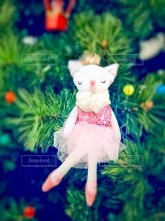 白猫バレリーナのクリスマスオーナメントの写真・画像素材[3985012]