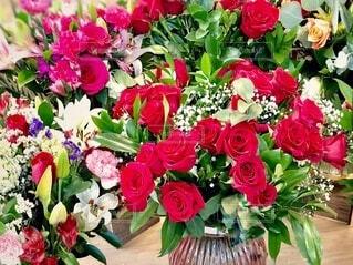 薔薇の花束のクローズアップの写真・画像素材[4158996]