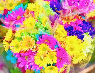 色とりどりの鮮やかな花束の写真・画像素材[4303839]