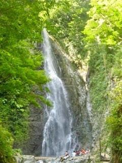 森の中の滝の下で座っている人々の写真・画像素材[4930127]